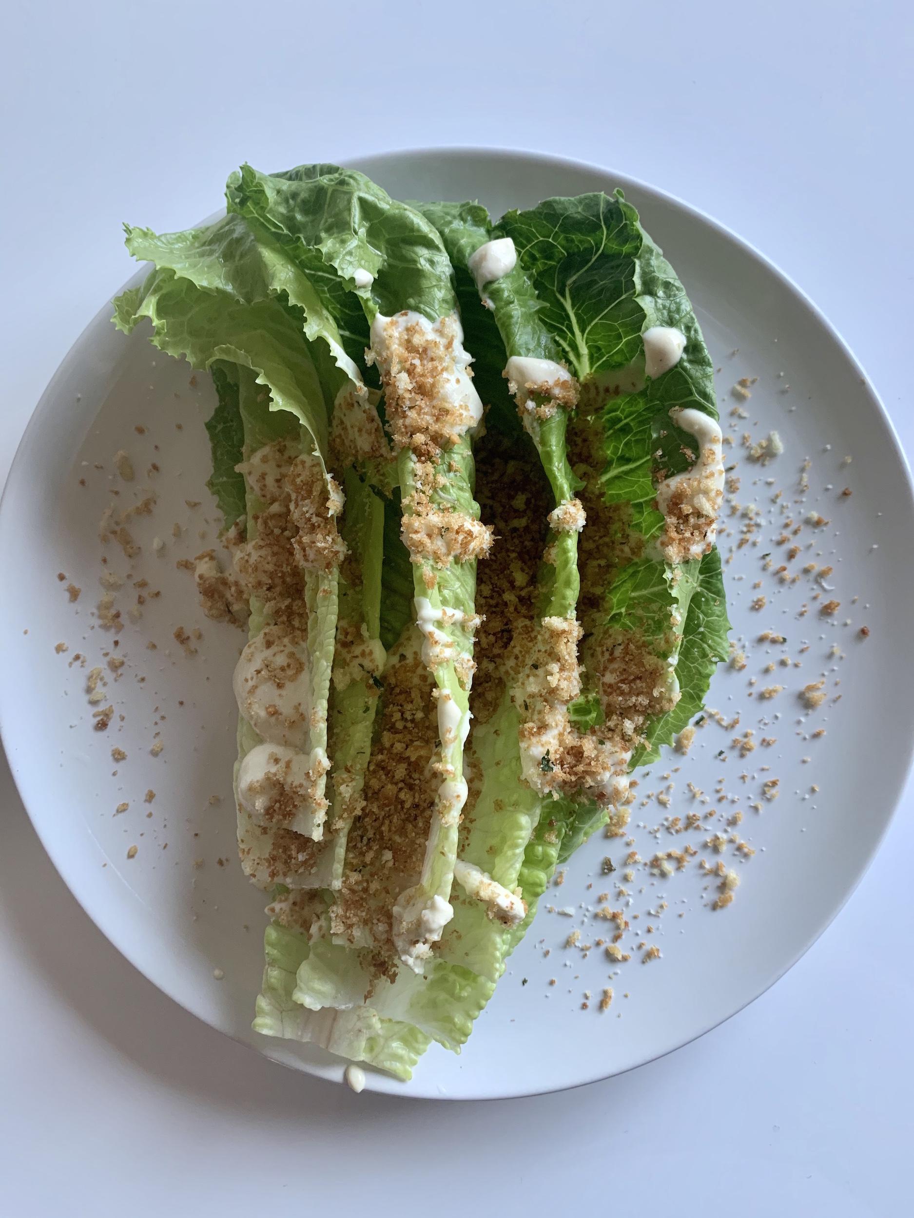 Greek Yogurt Caesar Salad with Parmesan Panko Crunch Topping