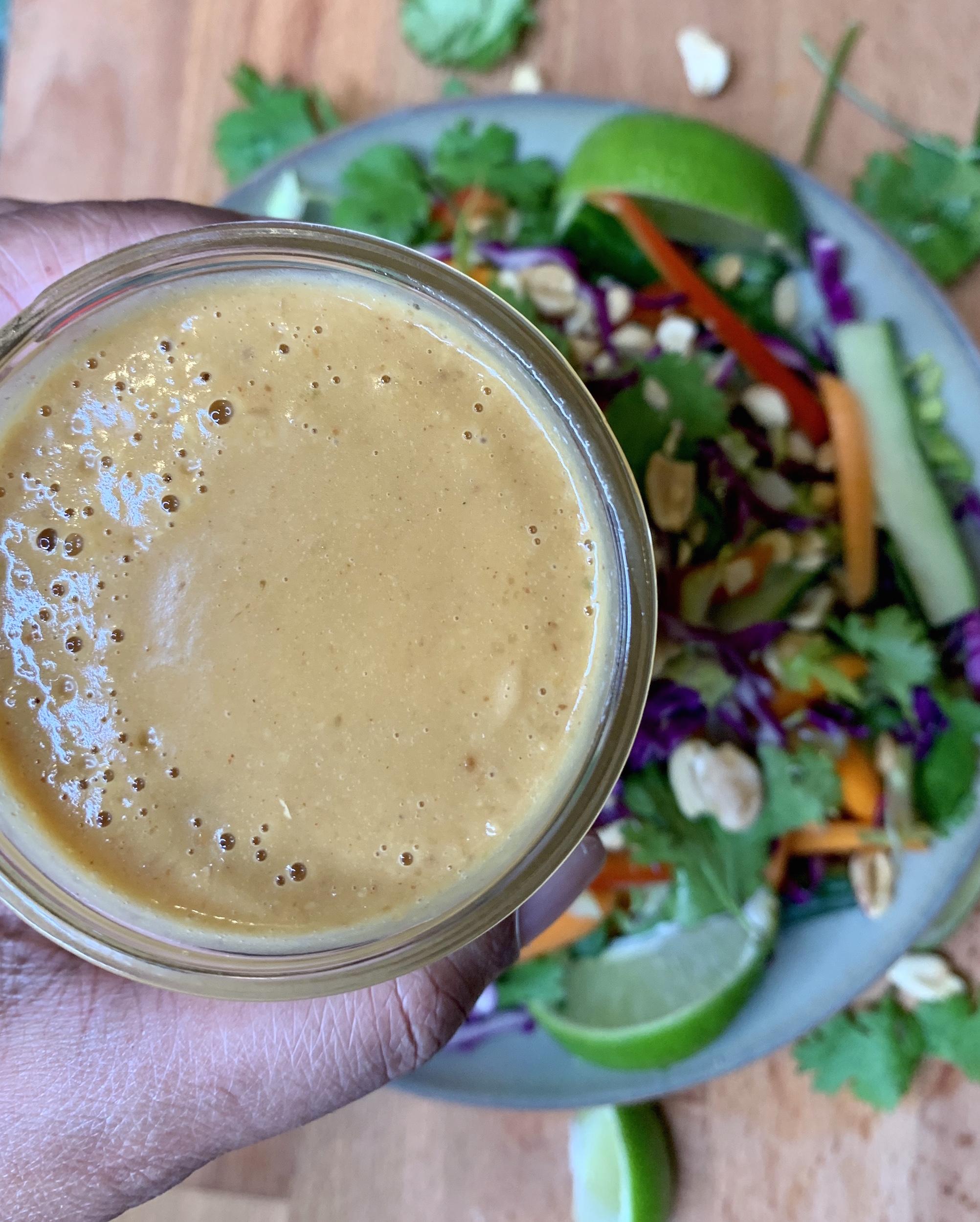 Peanut dressing with Thai Crunch Salad