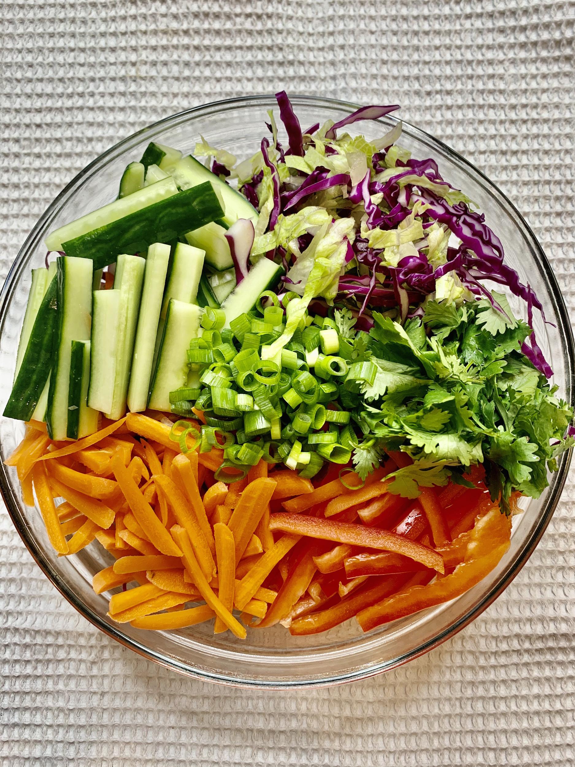Thai Crunch Salad Veggies in a bowl