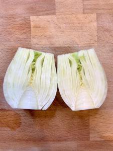 Split fennel bulb