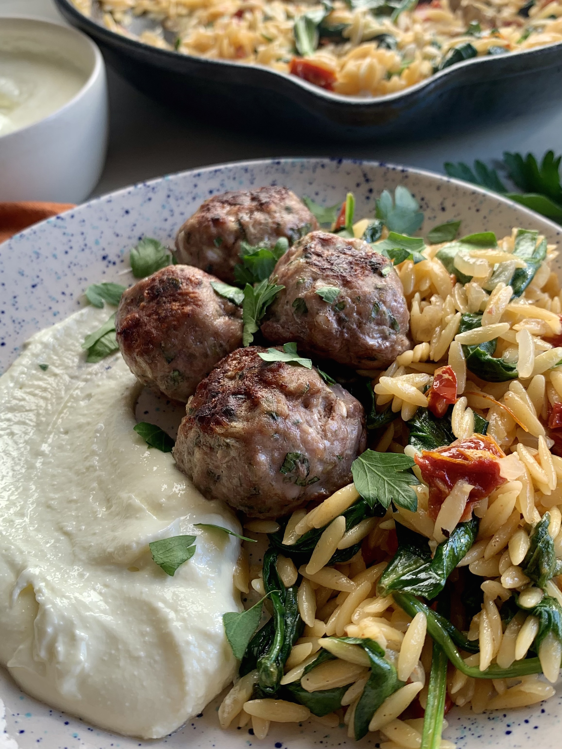 Speckled plate with greek meatballs, orzo and whipped feta with skillet and bowl in the background