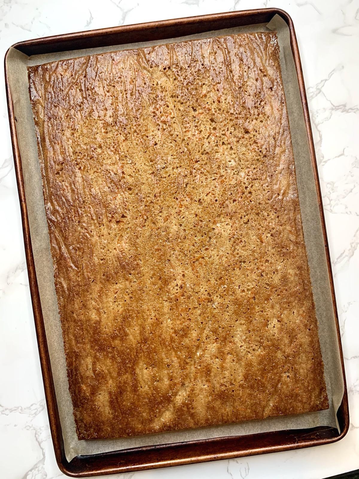 Naked baked cardamom spiced carrot cake sheet cake