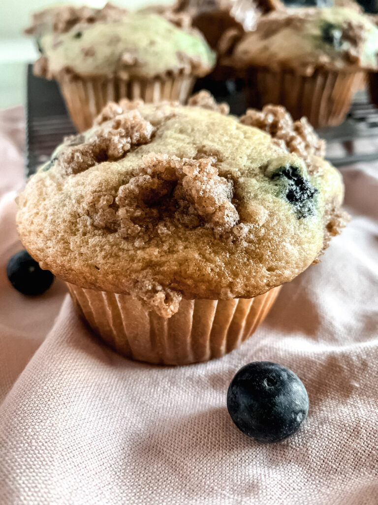 Close up of Buttermilk blueberry muffin on a pink napkin
