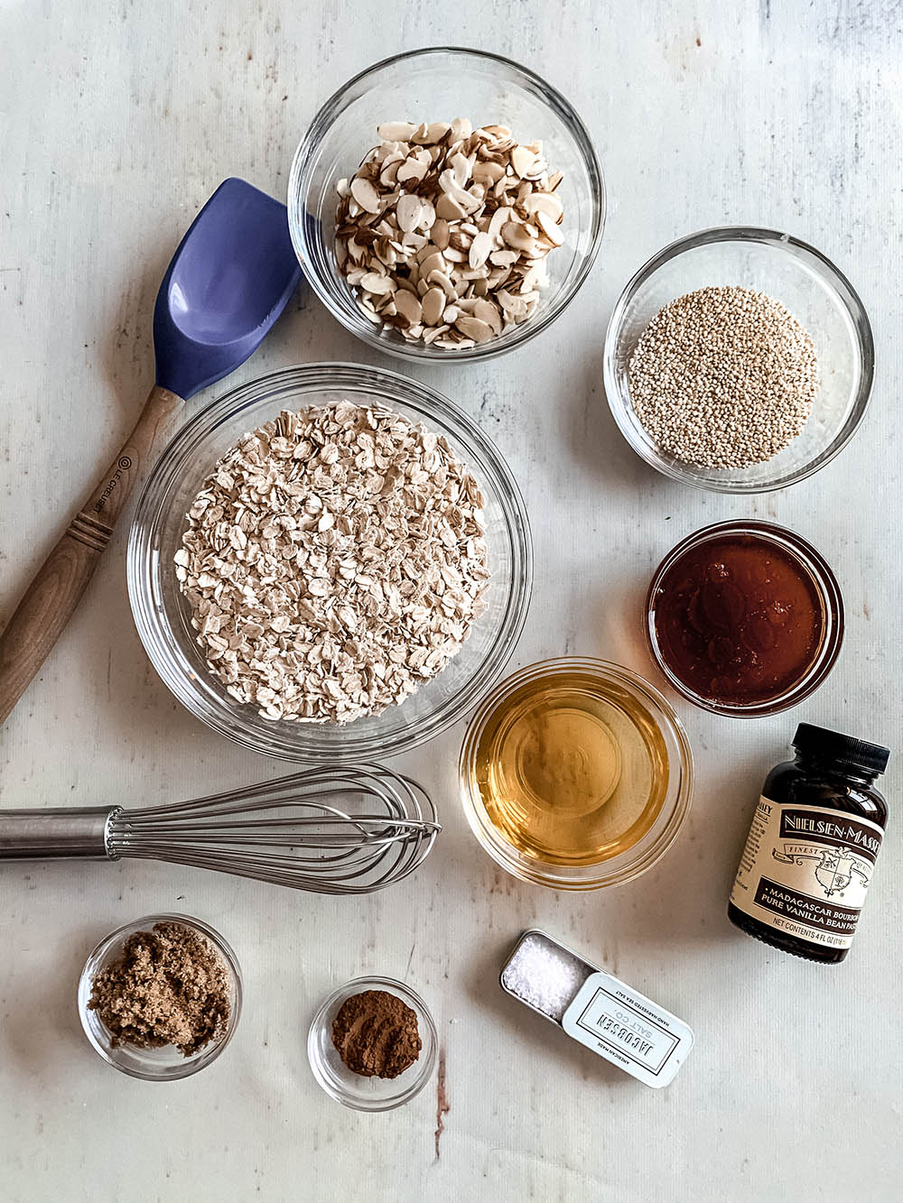 Vanilla Almond Granola ingredients.