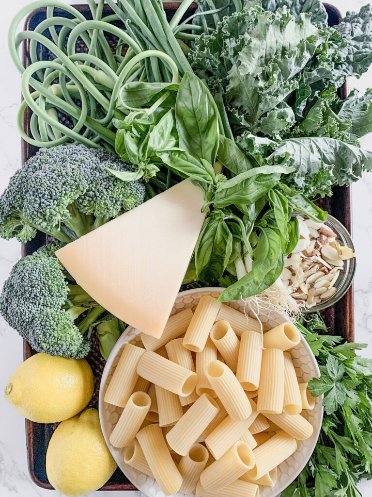 Farmers Market Green Pasta ingredients all together on a copper baking sheet