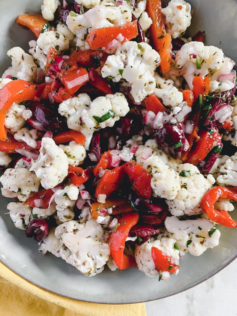 Grey bowl of Marinated Cauliflower Salad